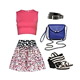 This sweet, slightly innocent look is perfect for daytime — pair your crop top with a high-waisted floral skirt, then cinch it with a patent leather belt for some shine. Add two-toned, low-heeled sandals and a cute crossbody bag in a contrasting color, and what do you know? You're now successfully pulling off a crop top. Get the Look:  J.Crew Patent Leather Belt ($37) CC Skye Bullet Crossbody Bag ($320) LD Tuttle The Burn Two-Tone Leather Sandals ($595) Red Valentino Floral Skirt ($534) Maarten Van Der Horst Crop Top ($60)