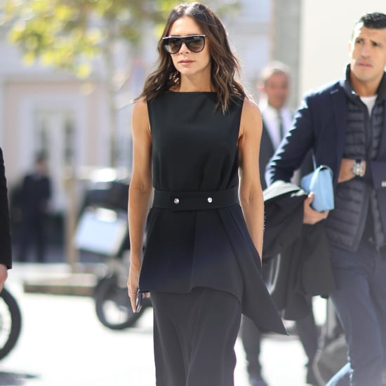 Victoria Beckham Black Dress and Blue Heels in Paris
