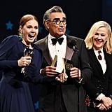 Pictured: Amy Adams, Eugene Levy, and Catherine O'Hara