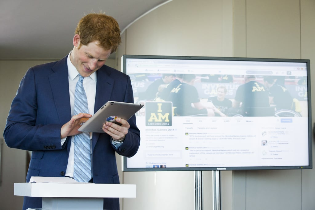 Prince Harry sent his first-ever tweet at the Invictus Games press conference in London on Thursday.