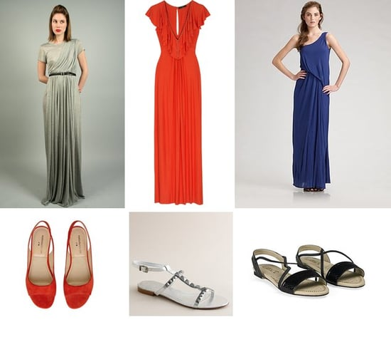 Shopping: Draped Maxi Dresses With Standout Sandals