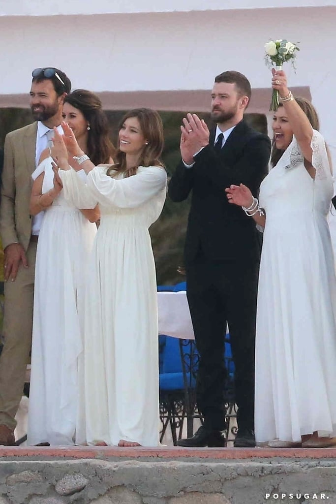 Justin Timberlake took a break from his busy touring schedule to attend the wedding of his brother-in-law, Justin Biel, in Mexico last week. He and wife Jessica Biel arrived in style for the oceanside ceremony, which took place in Cabo San Lucas; Jessica wore a pretty off-white gown while Justin looked sharp in a black suit, and they were spotted holding hands and cheering on the newlyweds with other guests.       Related:                                                                                                           61 Photos of Justin Timberlake and Jessica Biel's Love Through the Years               Justin has been traveling the country on his Man of the Woods tour and is stopping in San Jose, CA on Tuesday night (I, a fan, will on the scene, cheering from the party pit). During his recent show in Detroit, Justin helped a fan announce her pregnancy to her family and friends. Keep reading to see Justin and Jessica at her brother's wedding.