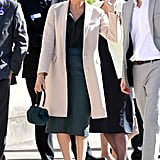 Meghan Markle Fall Outfit Idea: A Leather Pencil Skirt, Button-Down, and Overcoat