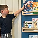 We keep some of our son's most special books out of reach, but we hung these shelves so they would be the perfect height for him to grab his favorites at any time.