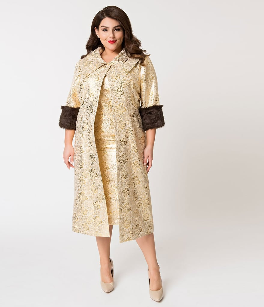 d723d68d58b4 Barbie x Unique Vintage Plus Size Evening Splendour Brocade Coat ...