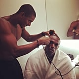 Usain Bolt got a haircut before the medal ceremony.  Source: Twitter user usainbolt
