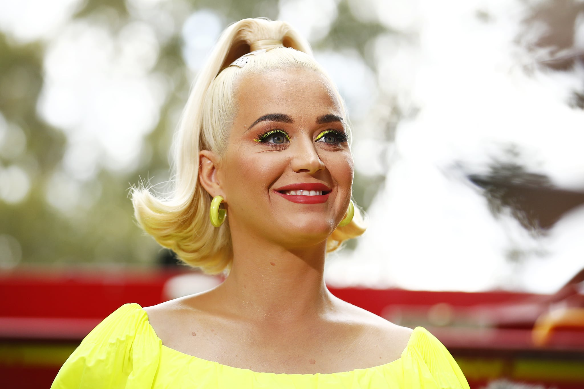 BRIGHT, AUSTRALIA - MARCH 11: Katy Perry speaks to media on March 11, 2020 in Bright, Australia. The free Fight On concert was held for for firefighters and communities recently affected by the devastating bushfires in Victoria. (Photo by Daniel Pockett/Getty Images)