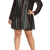 Leith Velvet Burnout Stripe Dress
