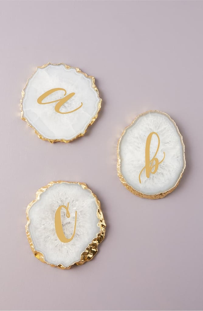 Anthropologie Monogram Agate Coaster