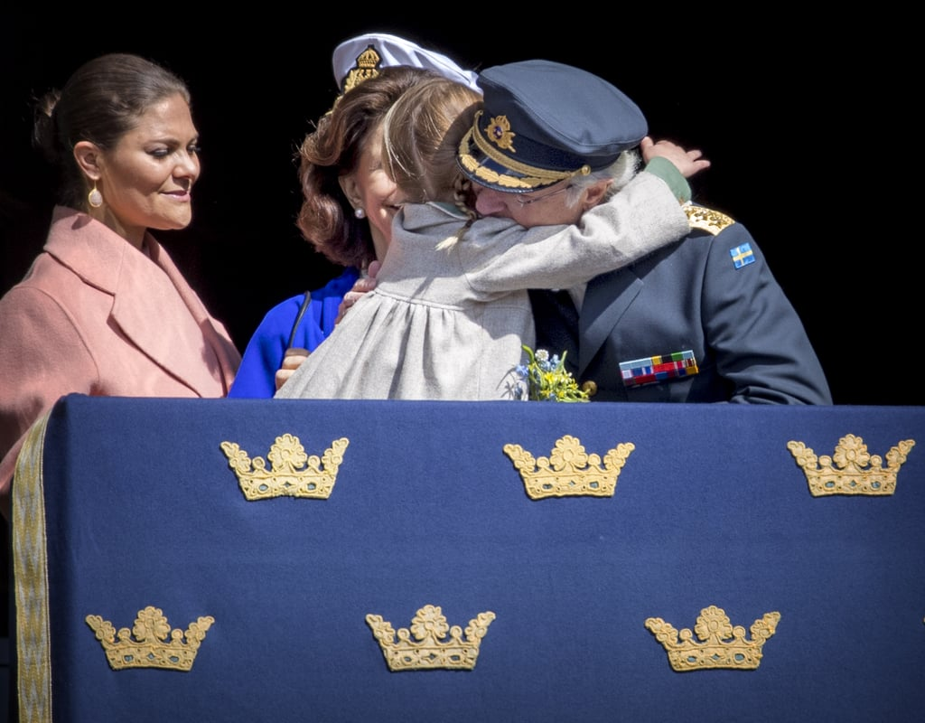 The Swedish royals celebrated King Carl XVI Gustaf's 71st birthday on April 30. Prince Carl Philip was in the palace square with his father while the rest of the family, including wife Princess Sofia, watched the festivities from the balcony. Even though it was the king's big day, it was Princess Estelle and Prince Oscar who stole the spotlight. The royal siblings looked too precious for words as they stood alongside their parents, Princess Victoria and Prince Daniel, at the palace. Aside from waving to the crowd, Estelle also shared a sweet moment with her grandfather when she reached her arms out for a hug.