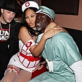 Kimora Lee Simmons and Djimon Hounsou dressed up as a naughty nurse and doctor in NYC in 2010.