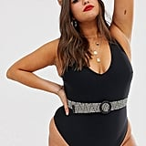 ASOS Design Curve Weave Belted Plunge Neck Swimsuit