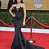 Naya Rivera's Donna Karan Atelier gown sported a sexy cut-out and dramatic train.