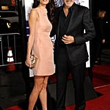 Amal wore a simple peach-colored shift dress and metallic heels to the premiere of Our Brand Is Crisis in 2015.