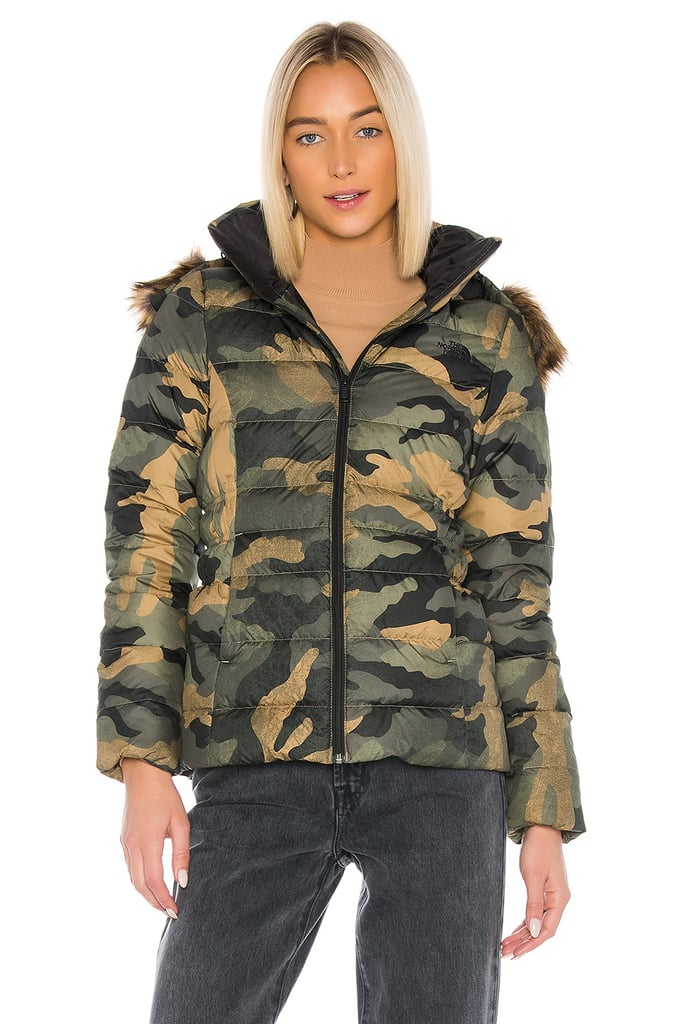The North Face Gotham Jacket II With Faux Fur Trim in Burnt Olive Green Waxed Camo Print