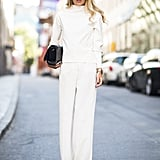 All-white everything that's hardly boring — this look screams Fall elegance.  Source: Le 21ème | Adam Katz Sinding