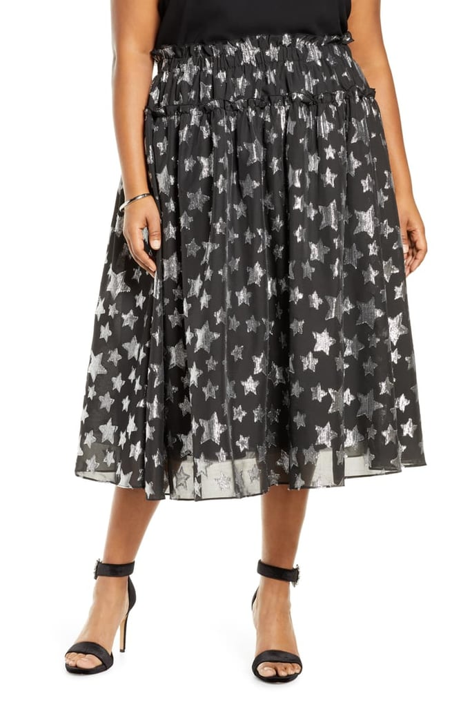 Halogen x Atlantic-Pacific Star Chiffon Midi Skirt
