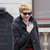 Michelle Williams showed off her red manicure.