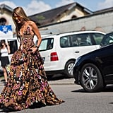 Anna Dello Russo's Dolce & Gabbana gown was a head-turning tiered creation.