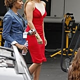 Jennifer Lopez walked across the lot to get to the American Idol stage.