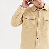 Weekday Irwin borg overshirt in beige