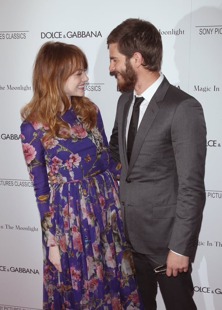 Emma Stone and Andrew Garfield shared a sweet moment at her Magic in the Moonlight premiere in NYC on Thursday.