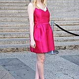 Dakota Fanning posed in a neon pink Lanvin dress at the Vanity Fair bash for the 2012 Tribeca Film Festival.