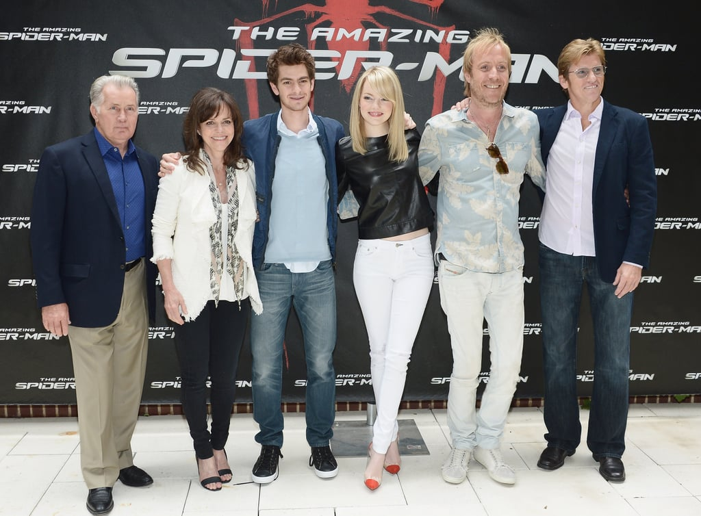Emma Stone and Andrew Garfield linked up with their Amazing Spider-Man costars yesterday for an afternoon photocall in NYC. After a long morning of interviews, Emma and Andrew reunited with Rhys Ifans, Sally Field, Martin Sheen, and Denis Leary to pose for the cameras. The Spider-Man gang are busy with press ahead of the movie's debut on July 3. Emma and Andrew kicked off their month of PR last weekend at the MTV Movie Awards. It's a different type of ceremony that will keep Andrew busy tonight, though. He's up for a best actor Tony, thanks to his role in Broadway's Death of a Salesman. His costar Philip Seymour Hoffman is also in the running, in a different category, and the whole production is in contention for best revival.