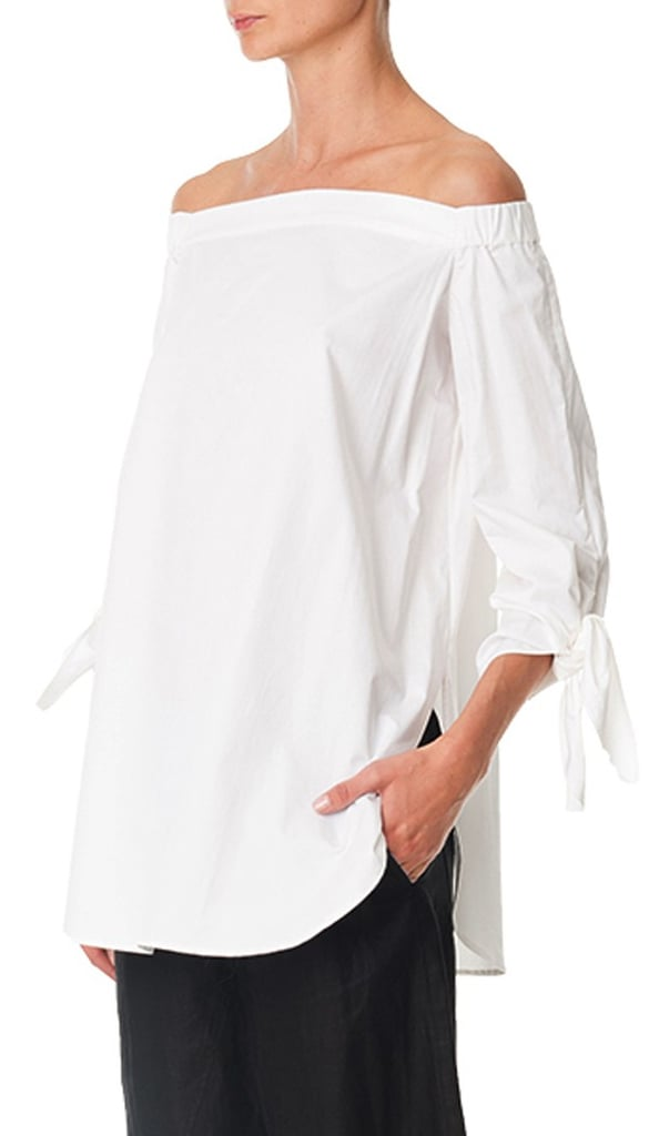 7ae42d5559f Tibi Satin Poplin Off-the-Shoulder Tunic | White Tops For Summer ...