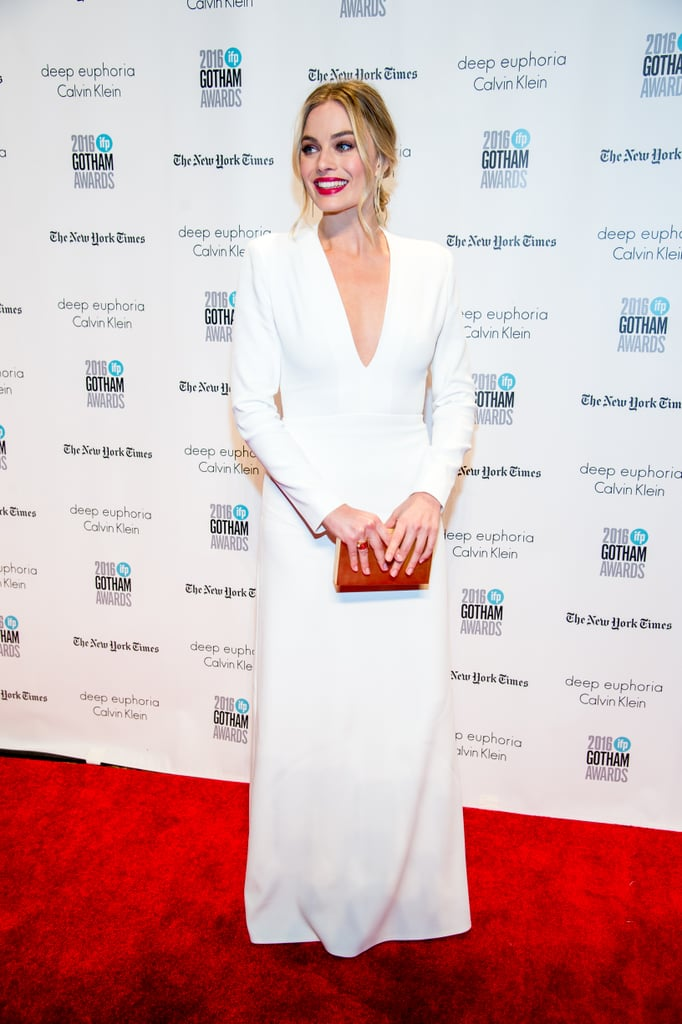 Margot's Winter white Calvin Klein gown featured a forgiving plunging neckline at the 26th annual Gotham Independent Film Awards in New York City in November 2016.