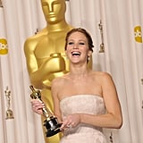 Jennifer Lawrence backstage at the Oscars 2013.