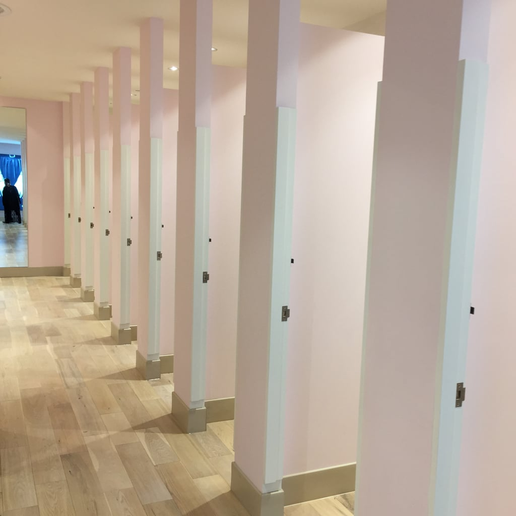 The roomy, well-lit fitting rooms are peaceful and pretty