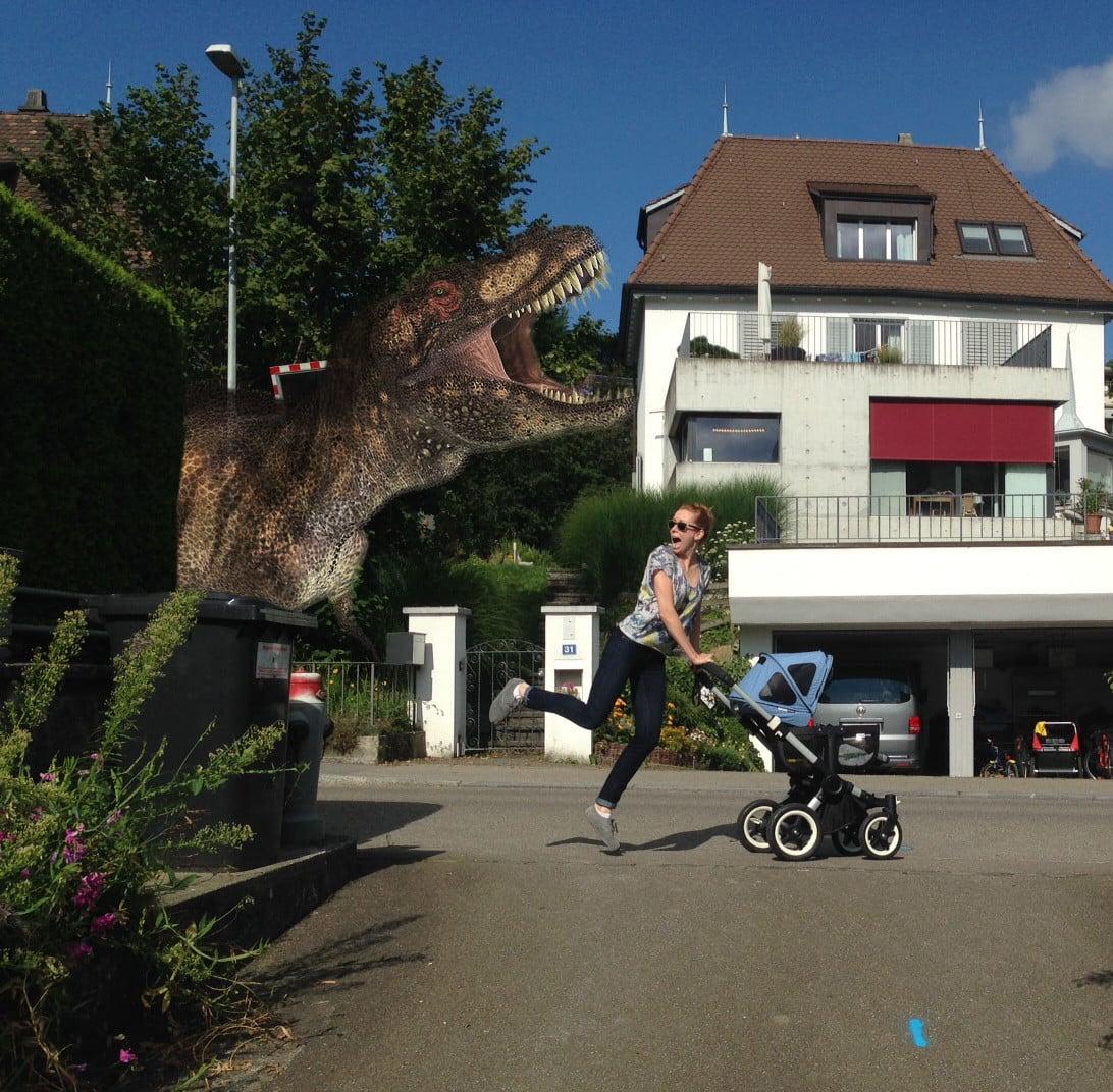 An afternoon jog with the dinosaur.  Source: Reddit user ukalele