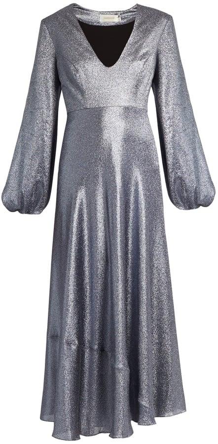 Zimmermann Adorn Plunging Lamé Midi Dress