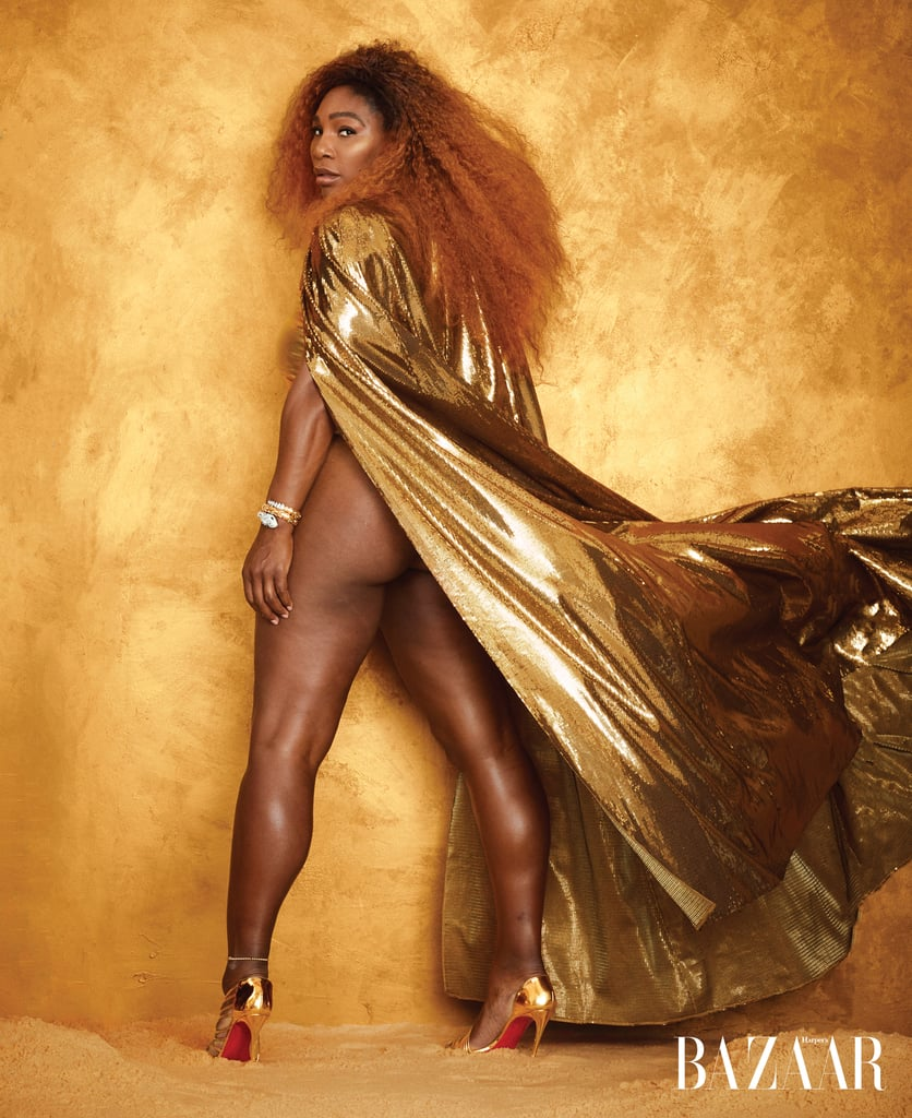 Serena Williams is baring it all in Harper's Bazaar. For the August 2019 cover story, the tennis player candidly wrote about her highly publicized loss to Naomi Osaka at the 2018 US Open, and to match the vulnerability of her essay, Serena's photos did not undergo any airbrushing.  Yes, this unretouched rule also applied to one stunning shot in which Serena is wearing a Ralph Lauren Collection cape, Christian Louboutin heels, a Bulgari cuff, and nothing else. This isn't, however, the first time Serena has shown some skin for a photo shoot. In fact, she posed naked on the cover of Vanity Fair when she was pregnant with her daughter in 2017.  See more photos from the latest shoot ahead.      Related:                                                                                                           Serena Williams Loves Putting Her Curves on Display in These Swimsuits, and We're Thankful For That
