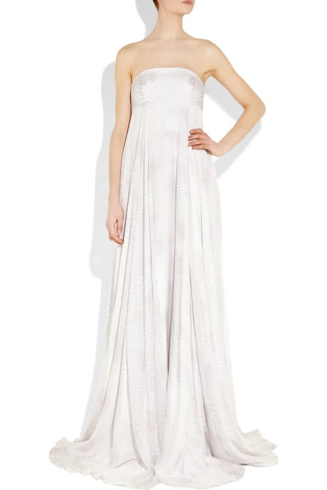 The subtle print on this Matthew Williamson gown makes it unlike any other strapless.  Matthew Williamson Printed Silk-Chiffon Gown ($2,350)