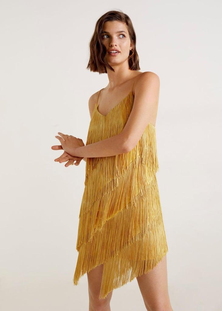 Mango Orange Fringe Dress