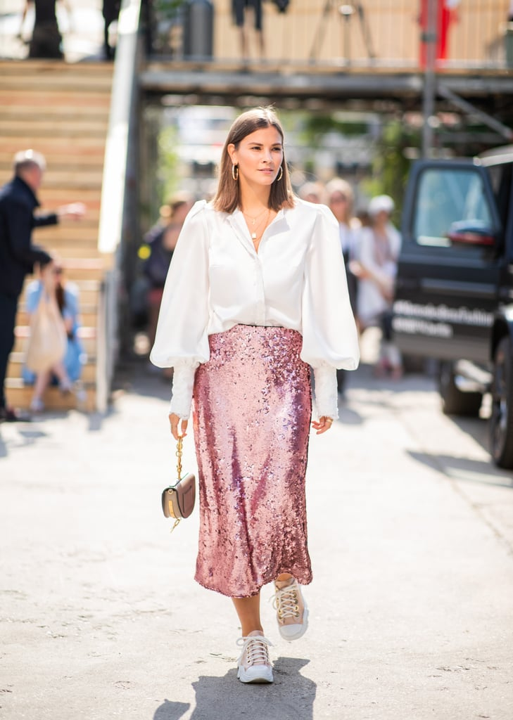 Oversize Blouse in a Loose Tuck Into Sequin Midi Skirt