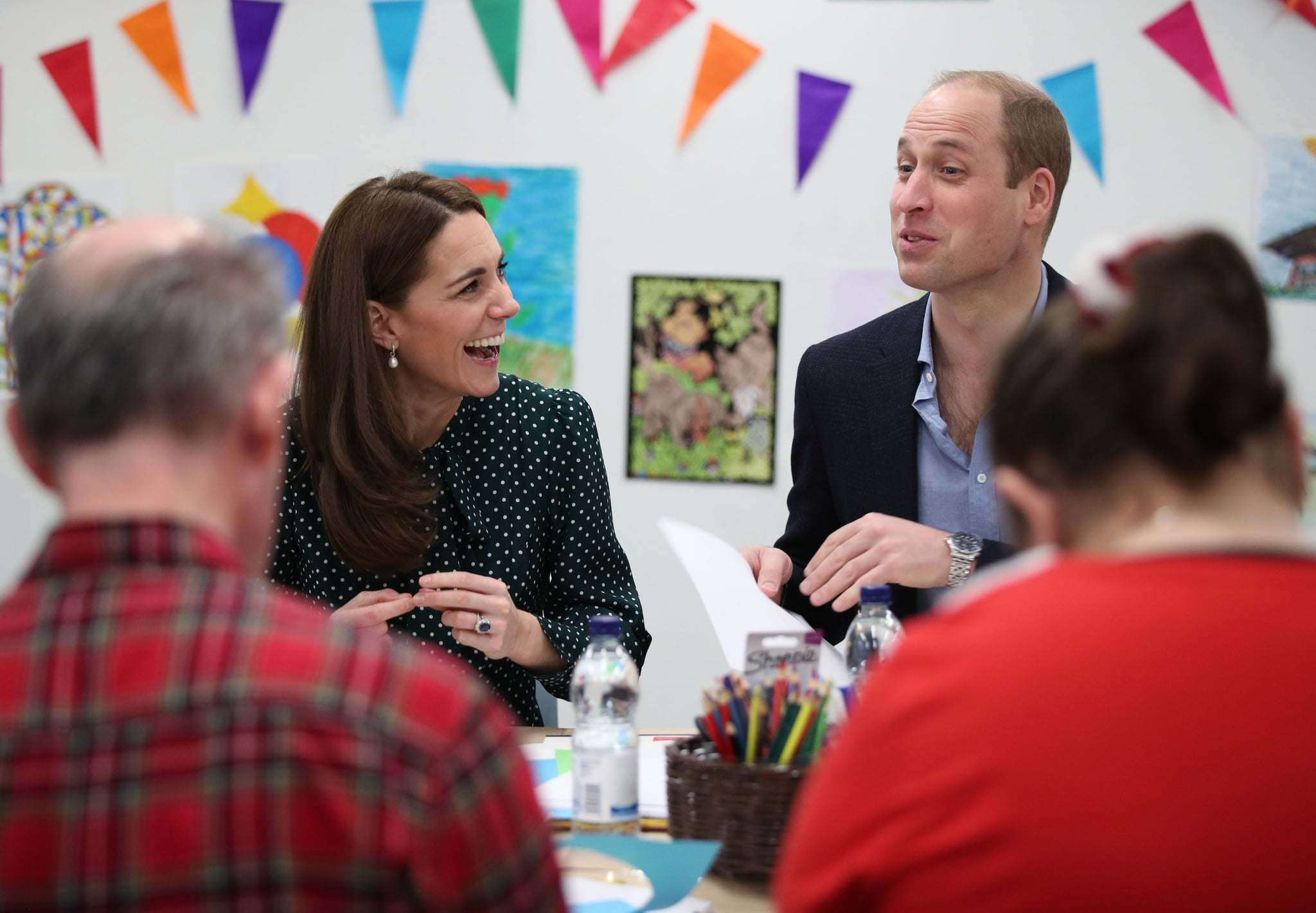 LONDON, ENGLAND - DECEMBER 11: Catherine, Duchess of Cambridge and Prince William, Duke of Cambridge take part in an art and craft session with clients during their visit to Evelina London Children's Hospital on December 11, 2018 in London, England.  Evelina London, which is part of Guy's and St Thomas' NHS Foundation Trust, is preparing to mark its 150th anniversary in 2019. (Photo by Yui Mok - WPA Pool/Getty Images)