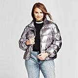 Who What Wear Plus Size Boxy Metallic Puffer Jacket
