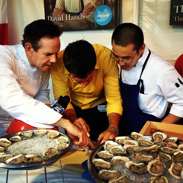 Yep, that happened: an impromptu oyster shucking session with Thomas Keller.  Source: Instagram user lafoodwine