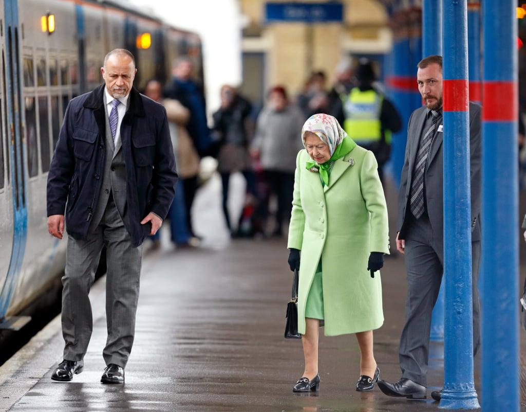 Queen Elizabeth II Catching Train at King's Cross Feb. 2017