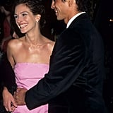 She smiled in a bubblegum-pink dress at the premiere of Stepmom in 1998 with then-boyfriend Benjamin Bratt.