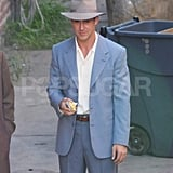 Ryan Gosling slipped into a light blue suit on The Gangster Squad set.