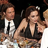 Brad Pitt and Angelina Jolie chatted with Tilda Swinton.