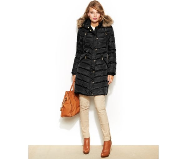 Michael Michael Kors Hooded Faux-Fur-Trim Puffer Coat