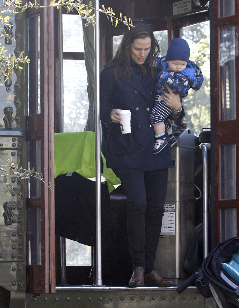 Jennifer Garner held Samuel Affleck on a trolley in New Orleans.
