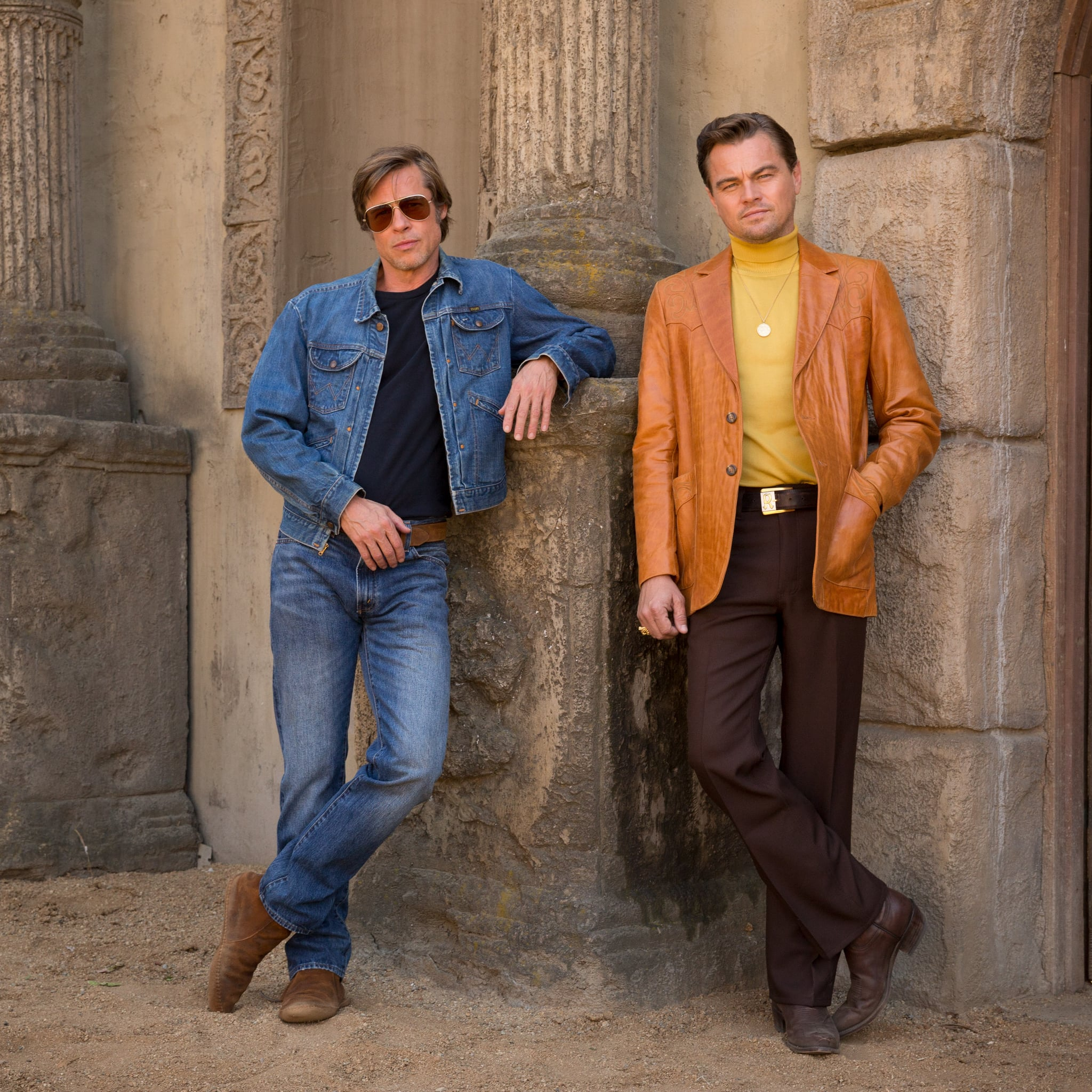 ONCE UPON A TIME IN HOLLYWOOD, from left: Brad Pitt, Leonardo DiCaprio, 2019. ph: Andrew Cooper /   Columbia Pictures / courtesy Everett Collection