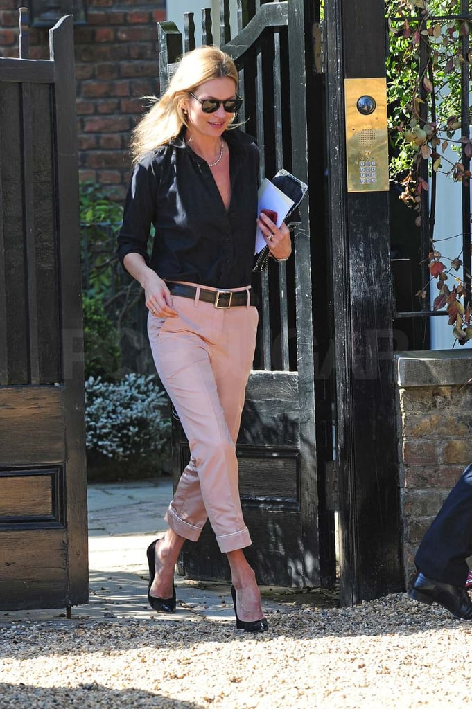 Kate Moss left her London home.
