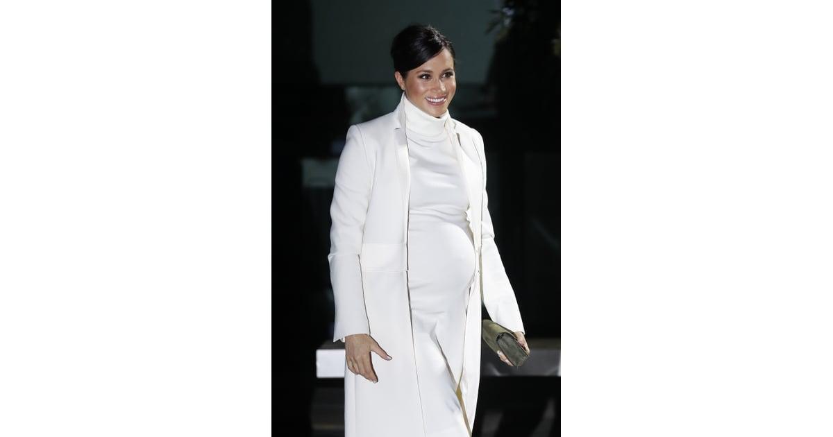 Meghan Markle White Calvin Klein Dress And Coat 2019 Popsugar